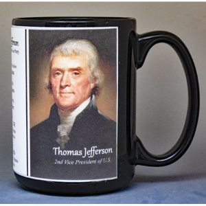 Thomas Jefferson, US Vice President biographical history mug.