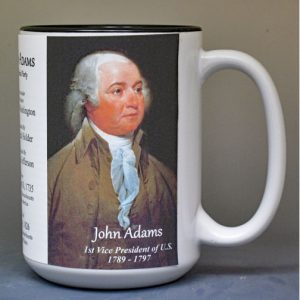John Adams US Vice President biographical history mug.