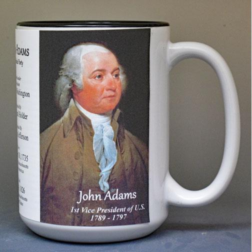 John Adams US Vice President biographical history mug.