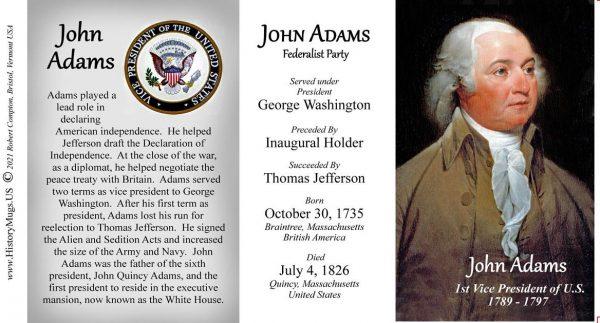 John Adams US Vice President biographical history mug tri-panel.