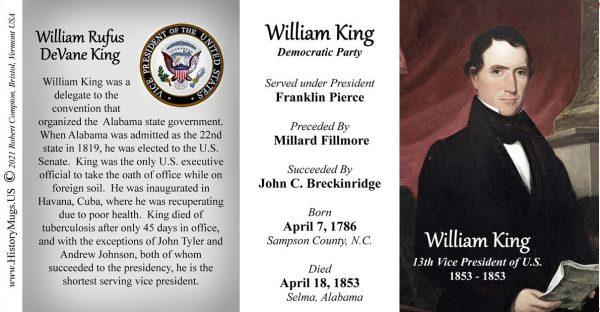 William King, US Vice President biographical history mug tri-panel.