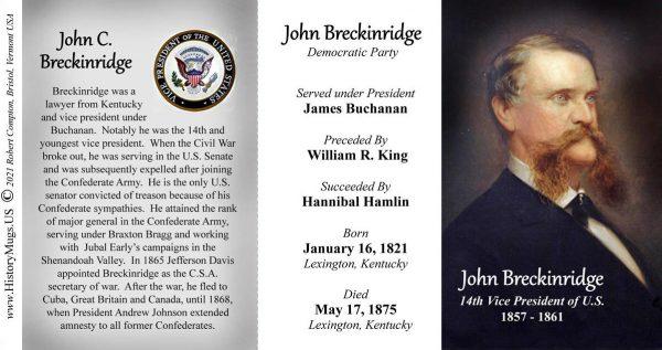 John Breckinridge, US Vice President biographical history mug tri-panel.