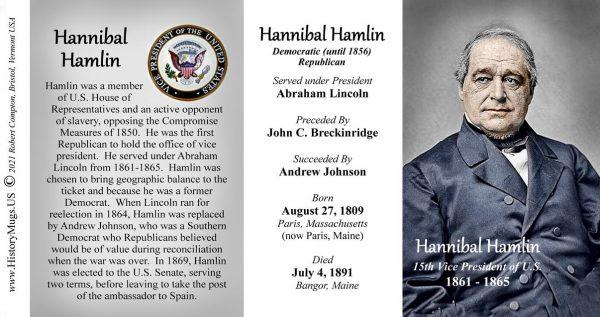 Hannibal Hamlin, US Vice President biographical history mug tri-panel.