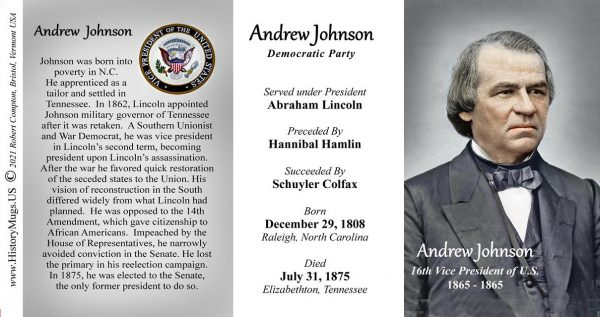 Andrew Johnson, US Vice President biographical history mug tri-panel.