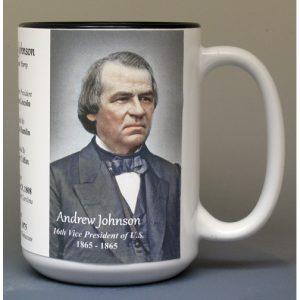 Andrew Johnson, US Vice President biographical history mug.