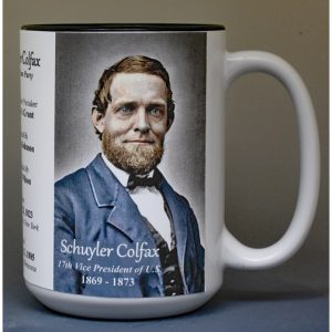 Schuyler Colfax, US Vice President biographical history mug.
