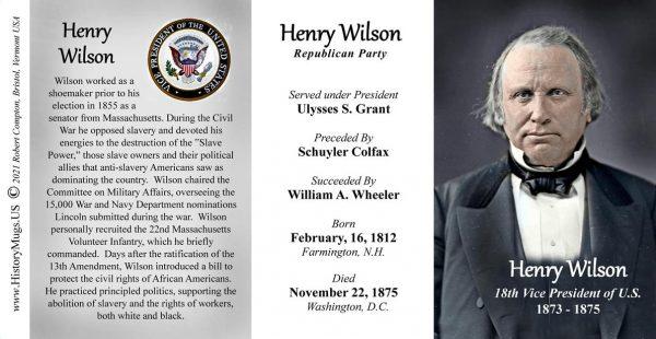 Henry Wilson US Vice President biographical history mug tri-panel.
