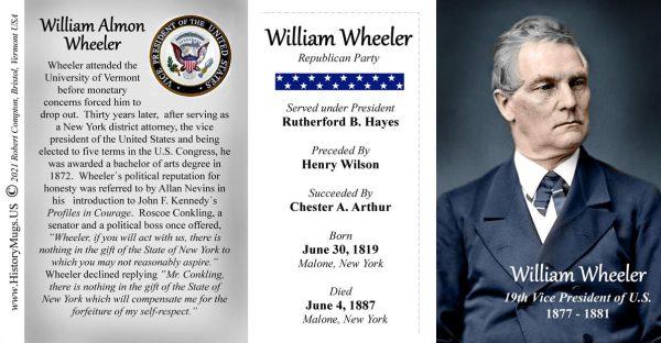 William Wheeler, US Vice President biographical history mug tri-panel.