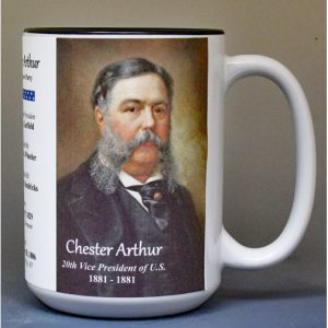 Chester Arthur, US Vice President biographical history mug.
