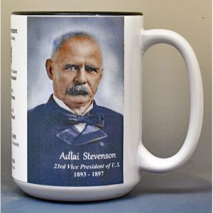 Adlai Stevenson, US Vice President biographical history mug.