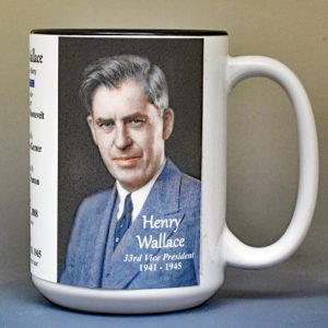 Henry Wallace, US Vice President biographical history mug.