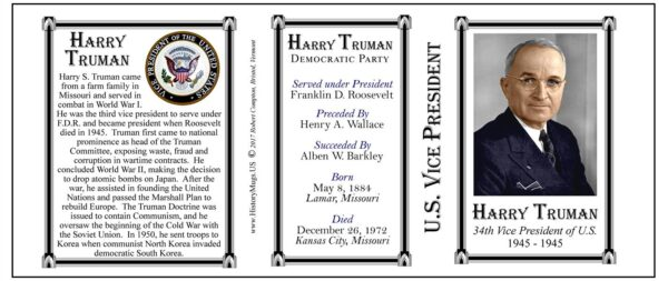 Harry S. Truman US Vice President history mug tri-panel.