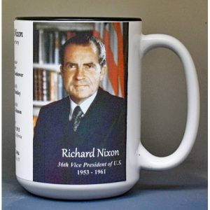 Richard Nixon, US Vice President biographical history mug.