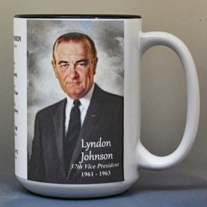 Lyndon B. Johnson, US Vice President biographical history mug.
