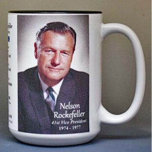 Nelson Rockefeller, US Vice President biographical history mug.