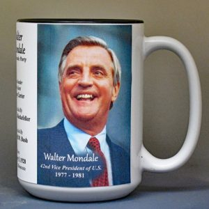 Walter Mondale, US Vice President biographical history mug.