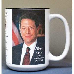 Al Gore, US Vice President biographical history mug.