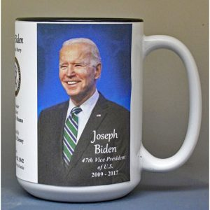 Joe Biden, US Vice President biographical history mug.