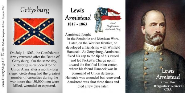 Lewis Armistead, Battle of Gettysburg biographical history mug tri-panel.