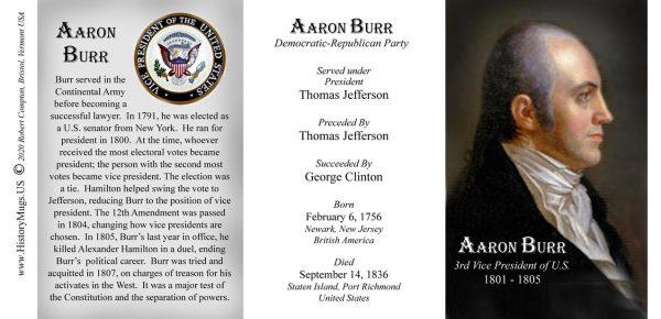 Aaron Burr, US Vice President biographical history mug tri-panel.