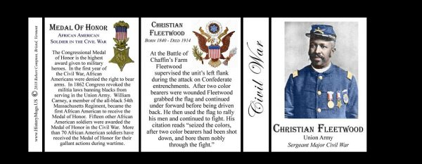 Christian Fleetwood Civil War Union soldier and Medal of Honor recipient history mug tri-panel.