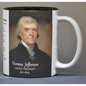 Thomas Jefferson US President history mug.