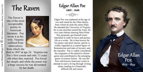 Edgar Allan Poe, author biographical history mug tri-panel.
