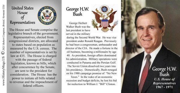 George H.W. Bush, US House of Representatives biographical history mug tri-panel.
