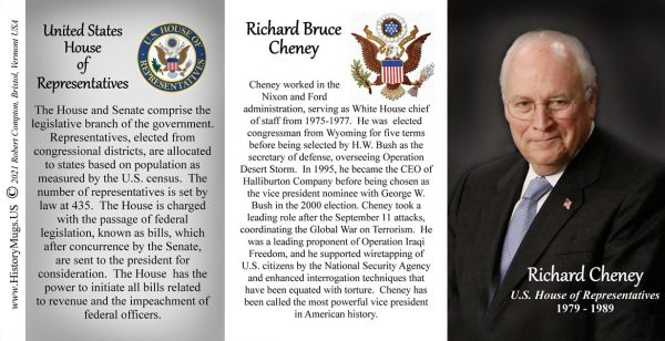 Dick Cheney, US House of Representatives biographical history mugs tri-panel.