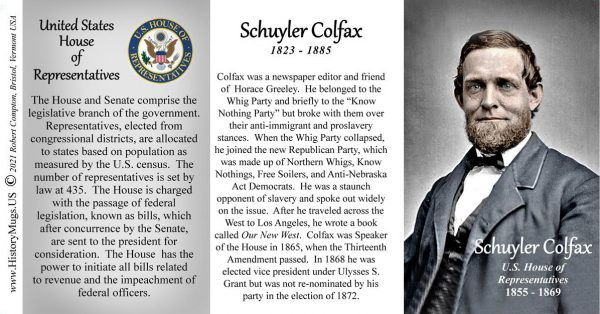 Schuyler Colfax, US Representative biographical history mug tri-panel.