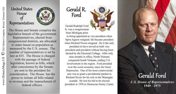 Gerald Ford, US House of Representatives biographical history mug tri-panel.