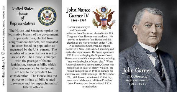 John Garner, US Representative biographical history mug tri-panel.