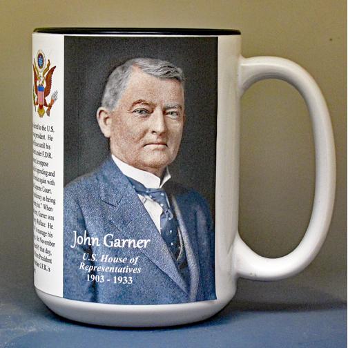 John Garner, US Representative biographical history mug.