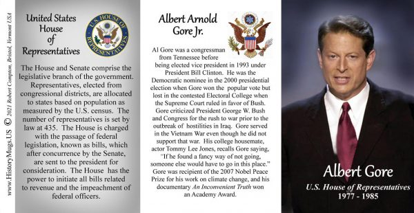 Al Gore, US House of Representatives biographical history mug tri-panel.