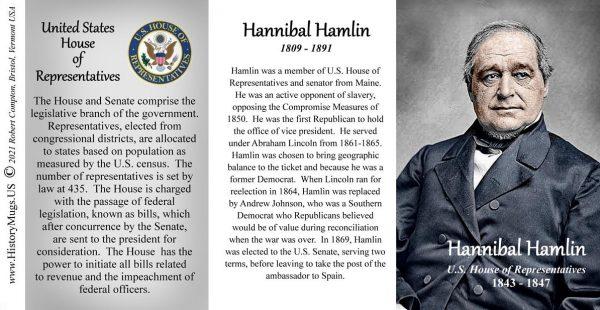 Hannibal Hamlin, US Representative biographical history mug tri-panel.