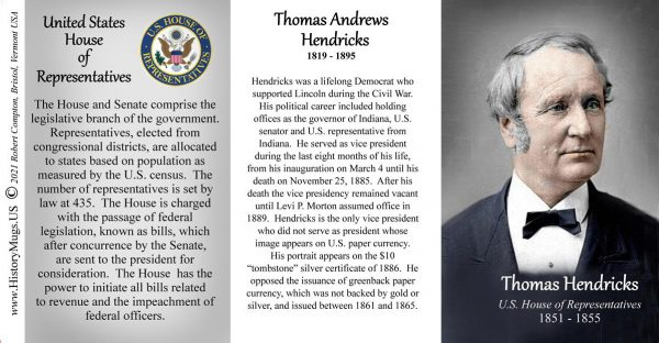 Thomas Hendricks, US House of Representatives biographical history mug tri-panel.