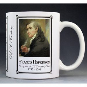 Francis Hopkinson designer of the US Treasury Seal history mug.