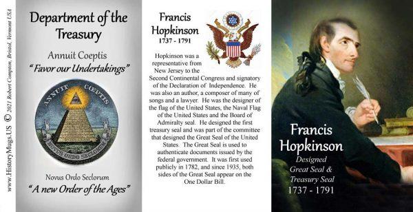 Francis Hopkinson, designer of the US Treasury seal biographical history mug tri-panel.