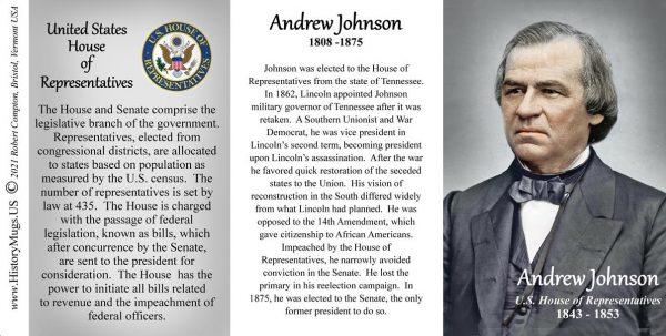 Andrew Johnson, US Representative biographical history mug tri-panel.