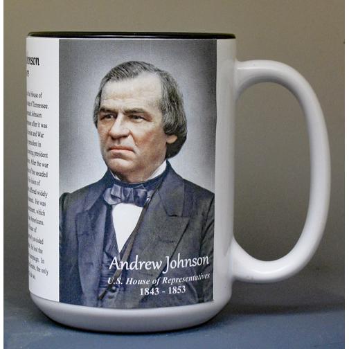 Andrew Johnson, US Representative biographical history mug.