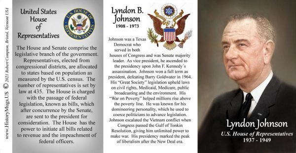 Lyndon B. Johnson, US House of Representatives biographical history mug tri-panel.