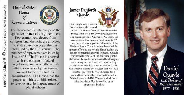 Dan Quayle, US House of Representatives biographical history mug tri-panel.