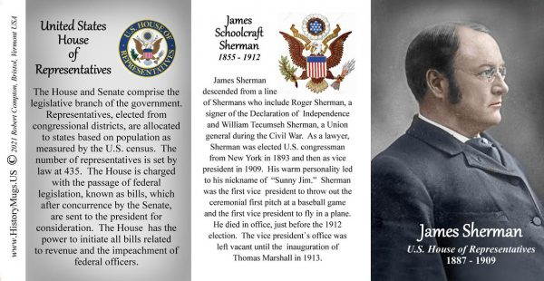 James Sherman, US Representative biographical history mug tri-panel.