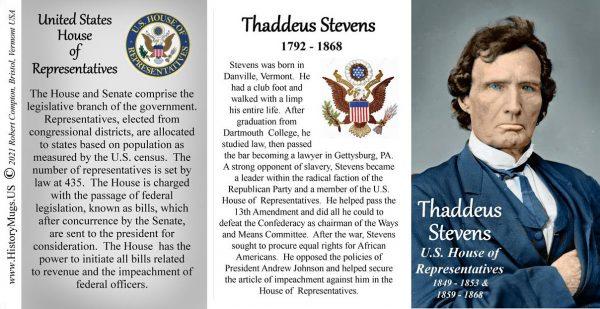 Thaddeus Stevens, US Representative biographical history mug tri-panel.