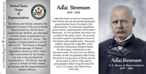 Adlai Stevenson, US Representative biographical history mug tri-panel.