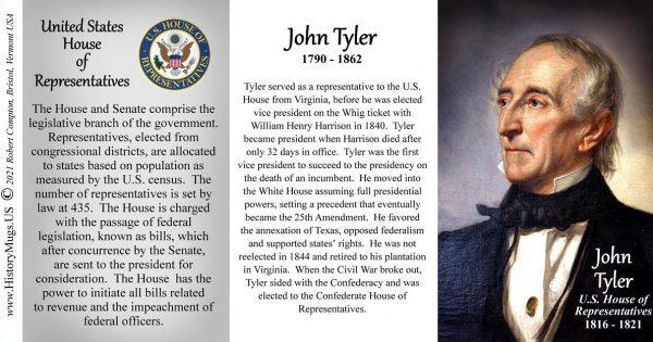 John Tyler, US Representative biographical history mug tri-panel.