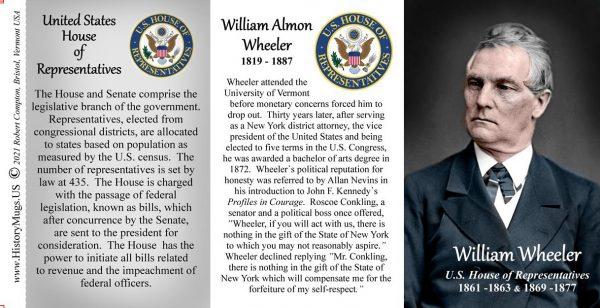 William Wheeler, US Representative biographical history mug tri-panel.