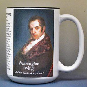 Washington Irving, American author biographical history mug.