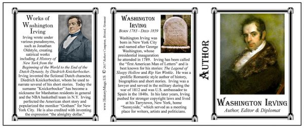 Washington Irving Author history mug tri-panel.