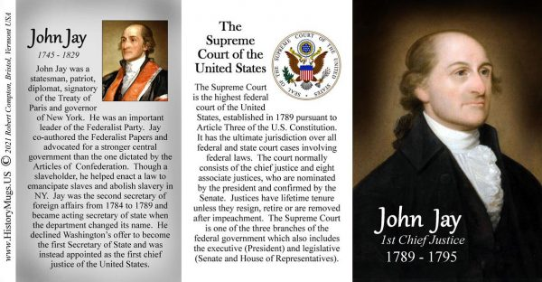 John Jay, First Chief Justice of the US Supreme Court biographical history mug tri-panel.